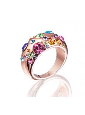Кольцо Цветное с кристаллами Swarovski