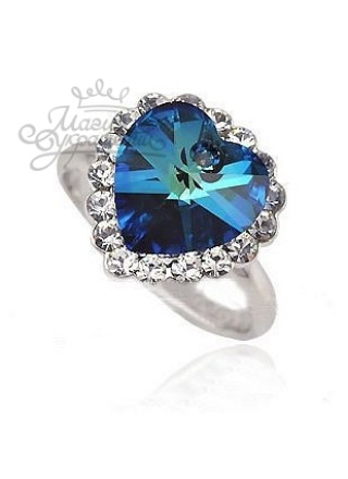 Кольцо Сердце со Сваровски бижутерия