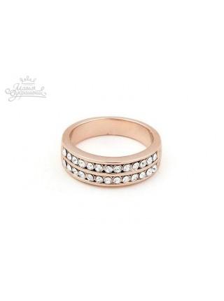 Кольцо Двойные полоски из кристаллов
