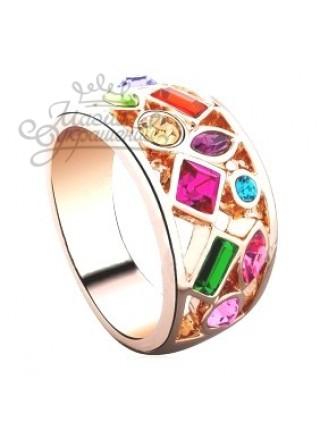 Кольцо с Цветными кристаллами Сваровски