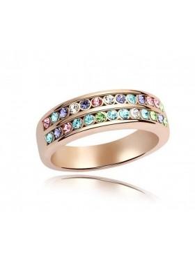 Кольцо с Разноцветными кристаллами Swarovski (Сваровски)