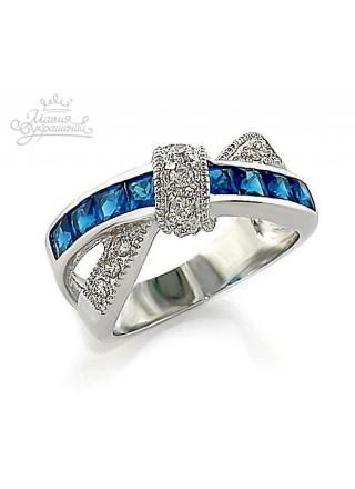Кольцо Двойное с синими кристаллами
