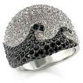Кольцо с черно-белыми фианитами
