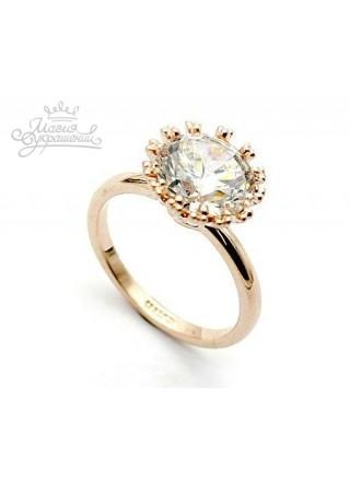 Кольцо в виде Солнца с кристаллом Сваровски