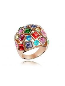 Кольцо Крупное с разноцветными кристалла