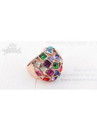 Кольцо Крупное с разноцветными кристаллами Swarovski
