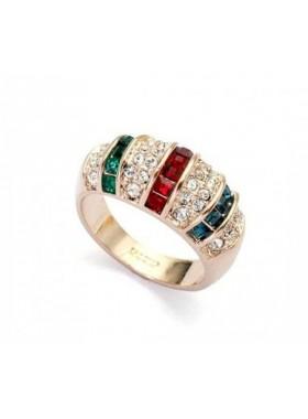 Кольцо с разноцветными полосками Swarovski