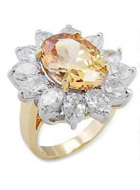Кольцо Цветок с фианитами