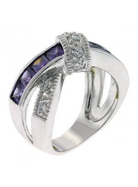 Кольцо с фиолетовыми кристаллами