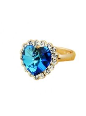 Кольцо Сердце со Сваровски-gold