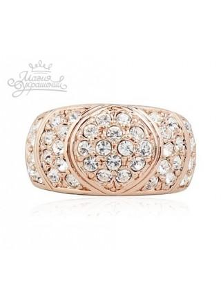 Кольцо Шахерезада розовое золото со Сваровски