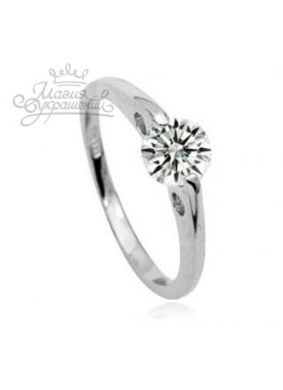 Кольцо Нежное в белом золоте с кристаллом Swarovski