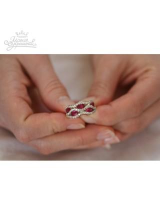 Кольцо Свет рубиновых фианитов