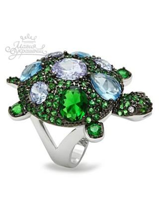 Кольцо Изумрудная черепашка с зелеными фианитами