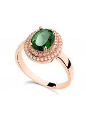 Кольцо Чарующее с зеленым кристаллом