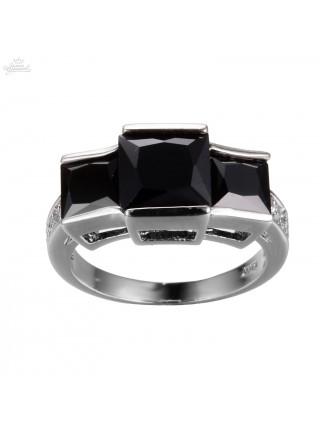 Кольцо Трио черных фианитов