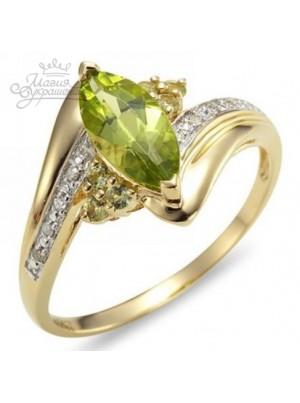 Кольцо с фианитами прозрачными и оливковыми