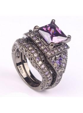 Кольцо двойное Черная грация с фиолетовыми фианитами
