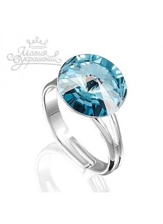 Кольцо разъемное с голубым кристаллом Swarovski