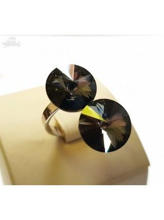 Кольцо с двумя кристаллами Swarovski Silver Night