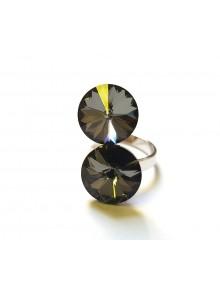 Кольцо с двумя кристаллами Swarovski Sil