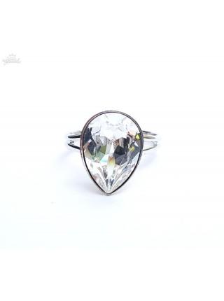 Кольцо разъемное с прозрачной капелькой Swarovski