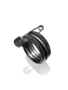 Кольцо с булавкой и черными кристаллами