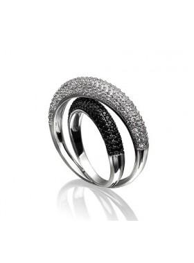 Кольцо черно-белое с фианитами