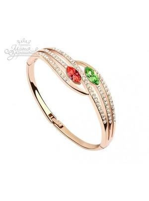 Браслет с кристаллами Сваровски зелеными и красными