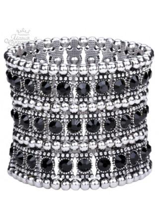 Браслет с черно-белыми кристаллами