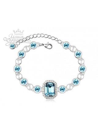 Браслет Идиллия с голубыми кристаллами Сваровски