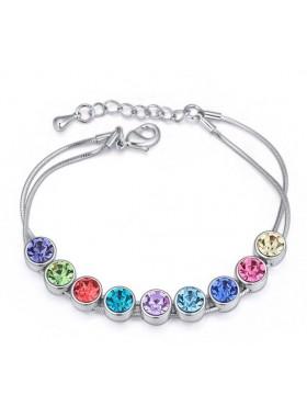 """Браслет """"Радужные кристаллы Swarovski"""" с разноцветными кристаллами"""