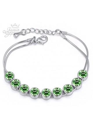 Браслет Радужные кристаллы Swarovski с зелеными кристаллами