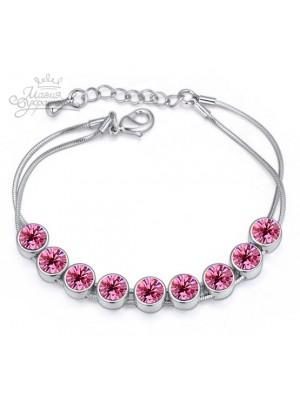 """Браслет """"Радужные кристаллы Swarovski"""" с розовыми кристаллами"""