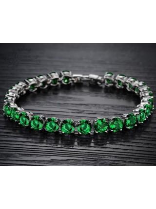 Браслет Изящность зеленых кристаллов