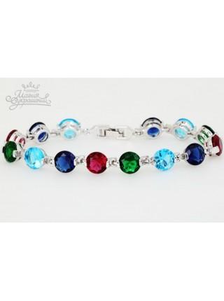 Браслет Изящность разноцветных кристаллов