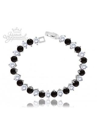 Браслет с черными и белыми кристаллами
