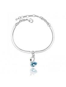 Браслет Лебедь с голубым кристаллом Swar