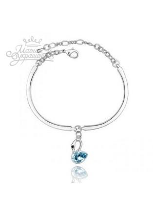 Браслет Лебедь с голубым кристаллом Swarovski