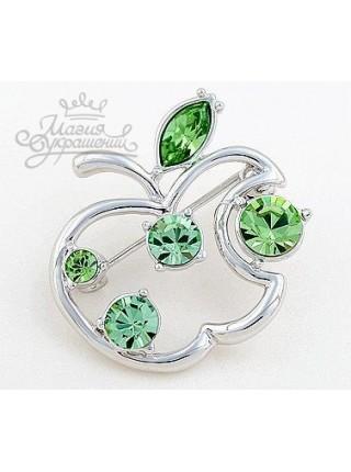 """Брошь """"Яблочко зеленое"""" с кристаллами Сваровски"""