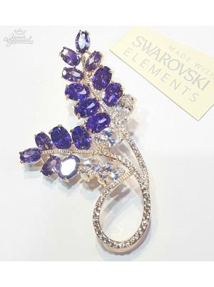 Брошь с фиолетовыми кристаллами Сваровски
