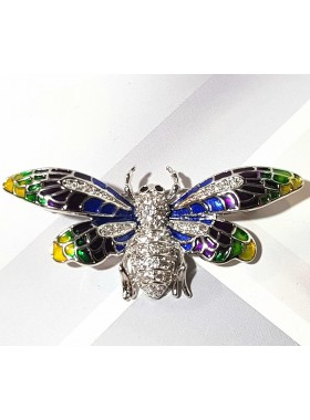 Брошь разноцветная Бабочка кристаллами Сваровски