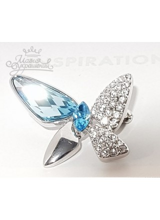 Брошь с голубыми кристаллами Сваровски