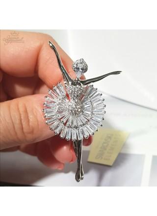 Брошь Балерина с кристаллами Сваровски