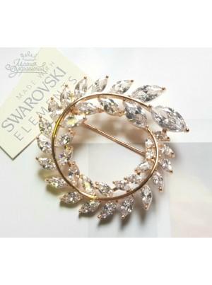 Брошь Кристальный завиток с кристаллами Сваровски