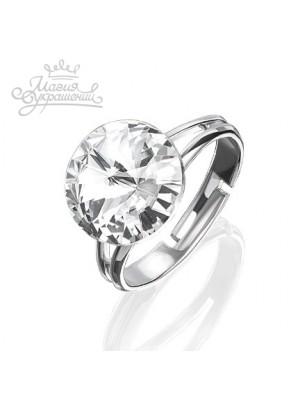 Кольцо разъемное с прозрачным кристаллом Swarovski