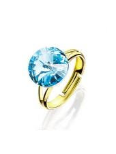 Кольцо с голубым кристаллом Swarovski разъемное