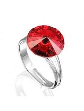 Кольцо с красным кристаллом Swarovski
