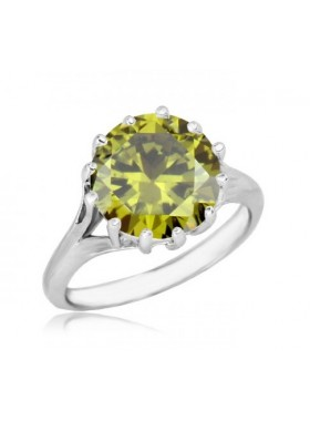 Кольцо с оливковым фианитом