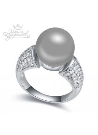 Кольцо с серым жемчугом